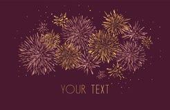 Template design of invitation with gold fireworks. Festive design postcards, invitations, brochures, cover, border. element for de stock illustration