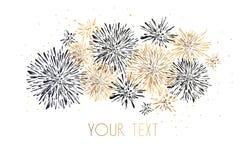 Template design of invitation with gold fireworks. Festive design postcards, invitations, brochures, cover, border. element for de vector illustration