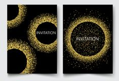 Template design invitations,greeting cards,greetings.Gold glitters on a black background. Royalty Free Stock Photography