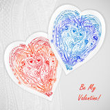 Template design for love card, doodle lace hearts. Stock Photo