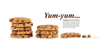 Template design with multiple stacks of chocolate chip cookies stock photography
