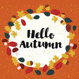 Template design ofHello, Autumn. Vector template design of card Hello, Autumn decorated with leaves nd mushrooms and acorns Vector Illustration
