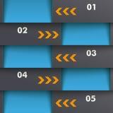 Template Design 5 Options Depth Blue Orange PiAd Royalty Free Stock Photos