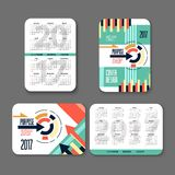 Template design pocket calendar 2017. Colorful  for business. vector. Template design pocket calendar 2017. Colorful design for business. vector illustration Royalty Free Stock Image