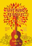 Template Design Poster. With acoustic guitar silhouette autumn leaves. Design idea for Live Music Festival show promotion advertisement. Vintage style. Easy to Stock Images