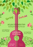 Spring music festival. Template Design Poster with acoustic guitar silhouette spring green leaves. Design idea Live Music Festival show promotion advertisement Stock Photography