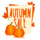 Template Design Poster autumn sale. The poster with the decor of orange maple leaves and pumpkins. Stickers with the Stock Images