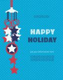 Happy American holiday. Template Design poster. Blank place for text. Colors of USA flag. Decoration to Happy American holiday party. Various fest day America Royalty Free Stock Image