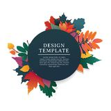 Template design round banner for fall season with white frame and herb. Promotion offer with autumnal oak plant, maple Royalty Free Stock Photos