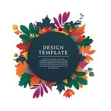Template design round banner for fall season with white frame and herb. Promotion offer with autumnal oak plant, maple Royalty Free Stock Photo