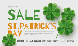 Template design sales banner on St. Patrick's Day. Simple banner for the site, shop, magazine promotions. Banner with place for text Stock Images
