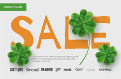 Template design sales banner on St. Patrick's Day. Simple banner for the site, shop, magazine promotions. Banner with place for text Royalty Free Stock Image