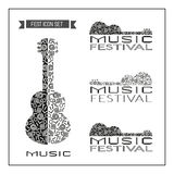 Template Design set: Acoustic Music Festival. Template Design set of doodle acoustic guitar silhouettes. Vintage music logo. Black white musical instrument icon Stock Image