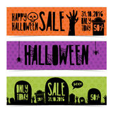 Template Design set of horizontal banners with Happy Halloween discounts. Banners with the decor of the zombie hands Royalty Free Stock Photos