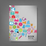 Template design with social network icons background Royalty Free Stock Image