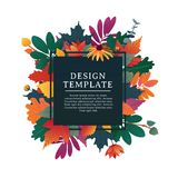 Template design square banner for fall season with white frame and herb. Promotion offer with autumnal oak plant, maple Stock Photography