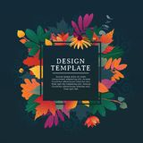 Template design square banner for fall season with white frame and herb. Promotion offer with autumnal oak plant, maple Stock Photos