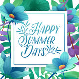 Template Design square banner with Happy summer days logo. Card for summertime season with white frame on flower Royalty Free Stock Photos
