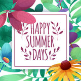 Template Design square banner with Happy summer days logo. Card for summertime season with white frame on flower Stock Images