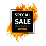 Template design square banner with Special sale. Black card for hot offer with frame fire graphic. Advertising poster. Layout with flame border on white Royalty Free Stock Image