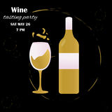 Template design suitable for wine tasting invitation or party. Template design with glass and bottle suitable for wine tasting invitation or party Royalty Free Illustration