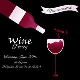 Template design suitable for wine tasting invitation or party. Template design with glass and bottle suitable for wine tasting invitation or party Vector Illustration
