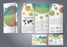 Template design three fold flyer, brochure Stock Images