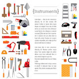 Template design with tools. Stationery template design with tools. Tools for different purposes, there is a place for text and header. The background is white Royalty Free Stock Photo