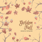 Template design with trees and autumn leaves. Can be used for covers, greeting cards, seasonal design. Based on hand drawn elements Royalty Free Stock Images