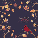 Template design with trees, autumn leaves and Royalty Free Stock Photography