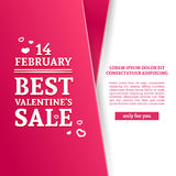 Template design Valentine banner. Happy valentine`s  day brochure with decoration  pink tape for sale. Romantic poster Royalty Free Stock Photo