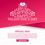 Template design Valentine banner. Happy valentine`s  day brochure with decoration  pink tape for sale. Romantic poster Stock Images