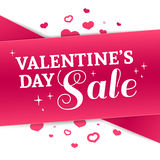 Template design Valentine banner. Happy valentine`s  day brochure with decoration  pink tape for sale. Romantic poster Stock Image