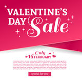 Template design Valentine banner. Happy valentine`s  day brochure with decoration  pink tape for sale. Romantic poster Royalty Free Stock Images