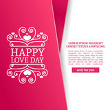Template design Valentine banner. Happy valentine`s  day brochure with decoration  pink tape for sale. Romantic poster Stock Photography