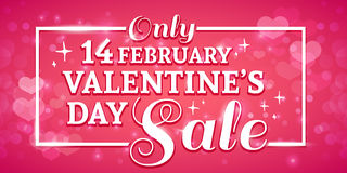 Template design Valentine banner. Happy valentine`s  day poster with decoration  pink heart for sale. Romantic card with Royalty Free Stock Photography