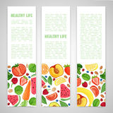 Template design vertical banner with the decor of the fruit. Horizontal pattern of natural foods, fruits, vegetables and. Berries. Frame with decor vegetarian stock illustration