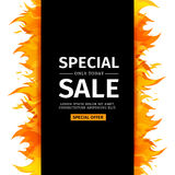 Template design vertical banner with Special sale. Black card for hot offer   Royalty Free Stock Image