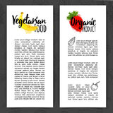 Template design vertical brochure with decor fruit and berry. Banner with organic food. Flyer for vegetarian food with Royalty Free Stock Photos