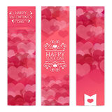 Template design of vertical pink banners, brochures, coupons with a pattern of hearts. Good for Valentine's Day wedding Stock Photos
