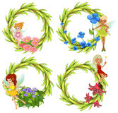 Template design wtih fairies and flowers Royalty Free Stock Photo
