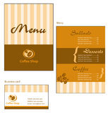 Template designs of menu and business card for cof. Fee shop and restaurant