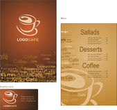 Template designs of menu and business card for cof Stock Images