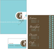 Template designs of menu and business card for cof Royalty Free Stock Image