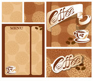 Template designs of menu and business card for coffee house Royalty Free Stock Images