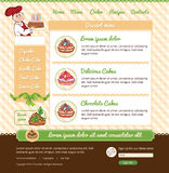 Template for dessert cafe. Web site with chief and cakes Royalty Free Stock Photography