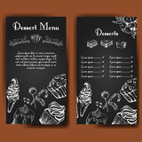 Template for dessert menu with sweet tasty cakes. Hand drawn design for poster, restaurant menu. Bakery sketch background Stock Images