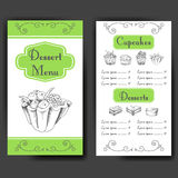 Template for dessert menu with sweet tasty cakes. Hand drawn design for poster, restaurant menu. Bakery sketch background Stock Image