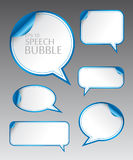 Template of different empty blue speech bubbles with curved corner for dialogue and thought communication. Vector illustration set.  Template of different empty Stock Photography