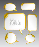 Template of different empty gold speech bubbles with curved corner for dialogue and thought communication. Vector illustration set.  Template of different empty Royalty Free Stock Images